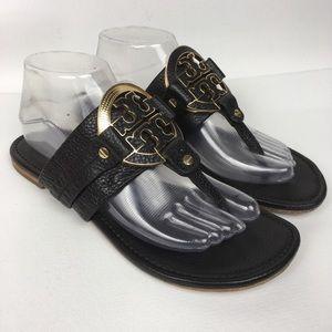 TIRY BURCH Sz 8.5M Black Leather Sandals ***Flaw**